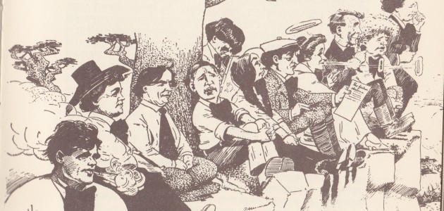Jack London (far left) and Upton Sinclair (third from left) are pictured on a picnic at Point Lobos in a cartoon originally published in the Los Angeles Times.