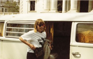 Grummon in front of her VW bus at a womens rights march in Washington D.C. in 1988.