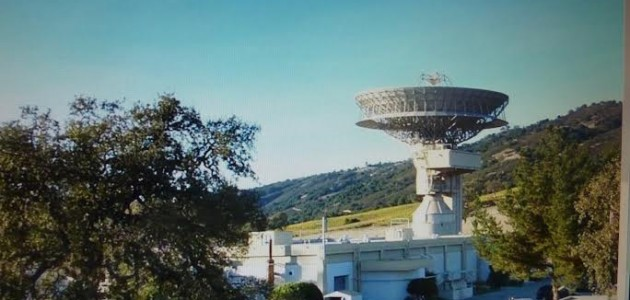 The 97-foot satellite dish and 20,000-square-foot bunker of Jamesburg Earth Station set in scenic Carmel Valley.