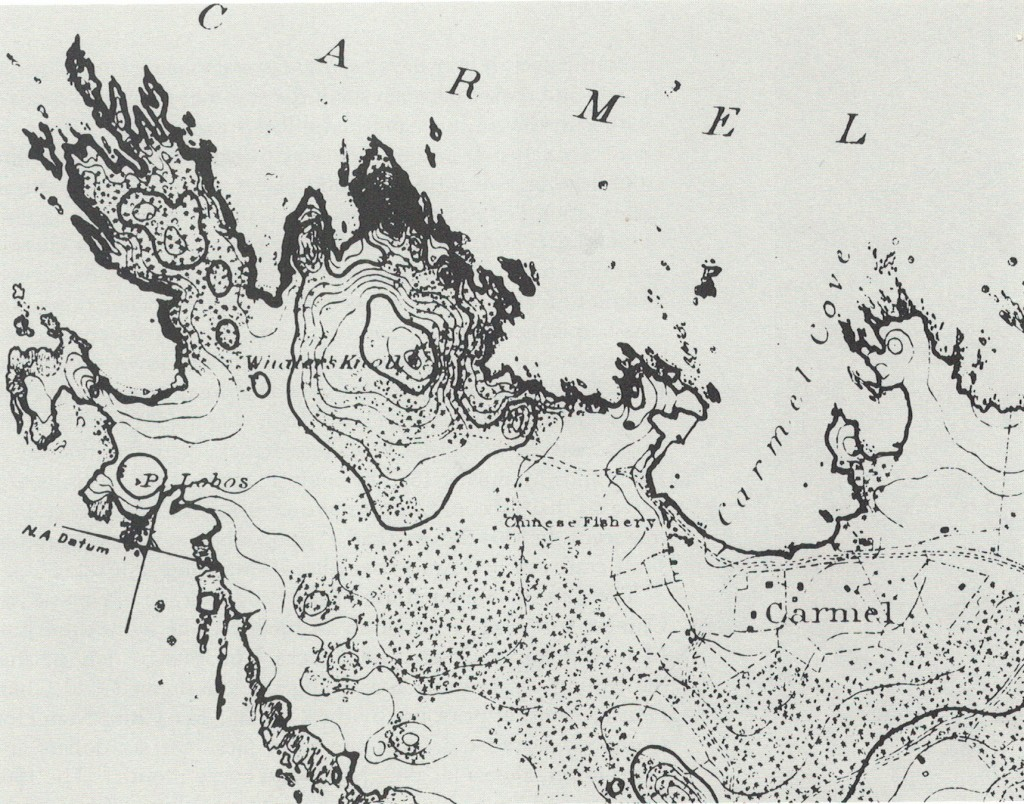 This 19th century map of Pt. Lobos and Carmel Bay shows the long ridge where coal was once hauled to Whaler's Knoll.