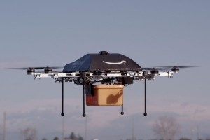 A prototype of the delivering Amazon Air Prime drone, which carries packages right to the home of the consumer. Courtesy of Amazon.