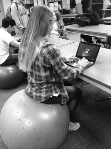 Students sit on exercise balls in Suzanne Marden's third period French class.